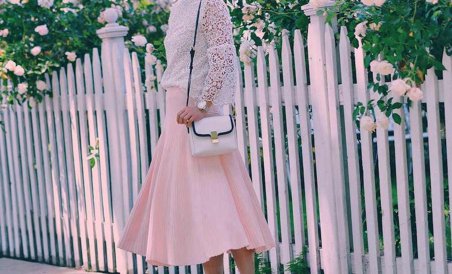 Lovely in Ladylike Style, Lace Top, Pink Midi Skirt, Miu Miu Bow Loafers, via: HallieDaily