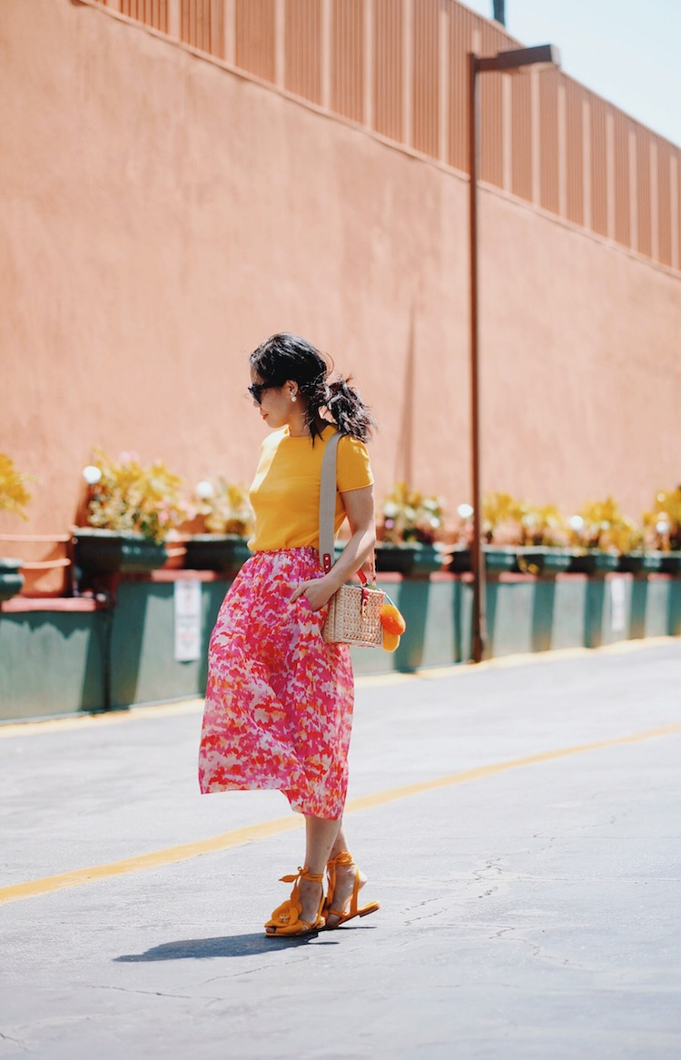 Mellow Yellow: Summer Weight Knit, Floral Skirt, Floral Sandals, Straw Bag, via: HallieDaily