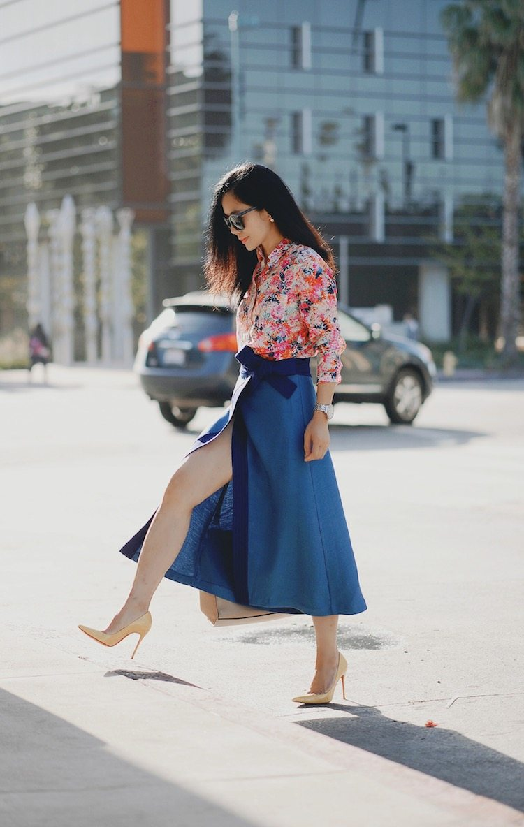 Colorful Street Style, J.Crew Floral Shirt, Cmeocollective Skirt, Christian Louboutin So Kate, Celine Bag, via: HallieDaily