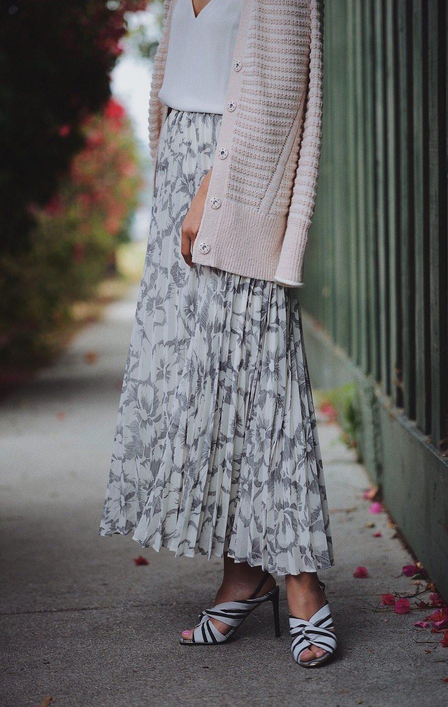 Pleated Maxi Skirt Amp Long Cardigan Hallie Daily