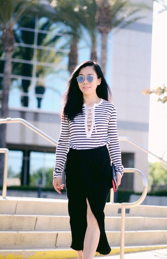 Halliedaily Style Street Style What I Wore Outfit Fashion Blogger Los Angeles Asian Blogger Lace Up Tee Lanvin Pencil Skirt Miu Miu Bow Sandals