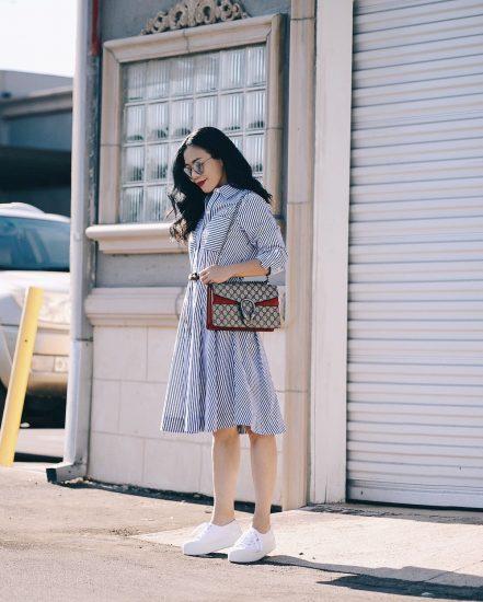4028c3d33be3cc Shirt Dress & Gucci Dionysus GG Bag | Hallie Daily