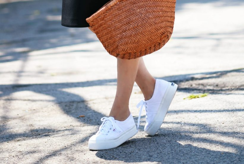 White Superga Platform Shoes