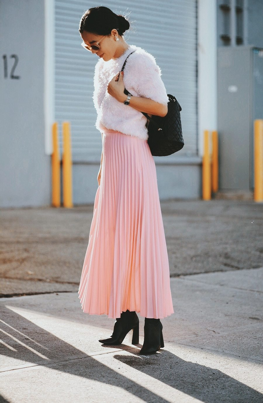 In Pink Pink Pleated Skirt Amp Pink Sweater Hallie Daily