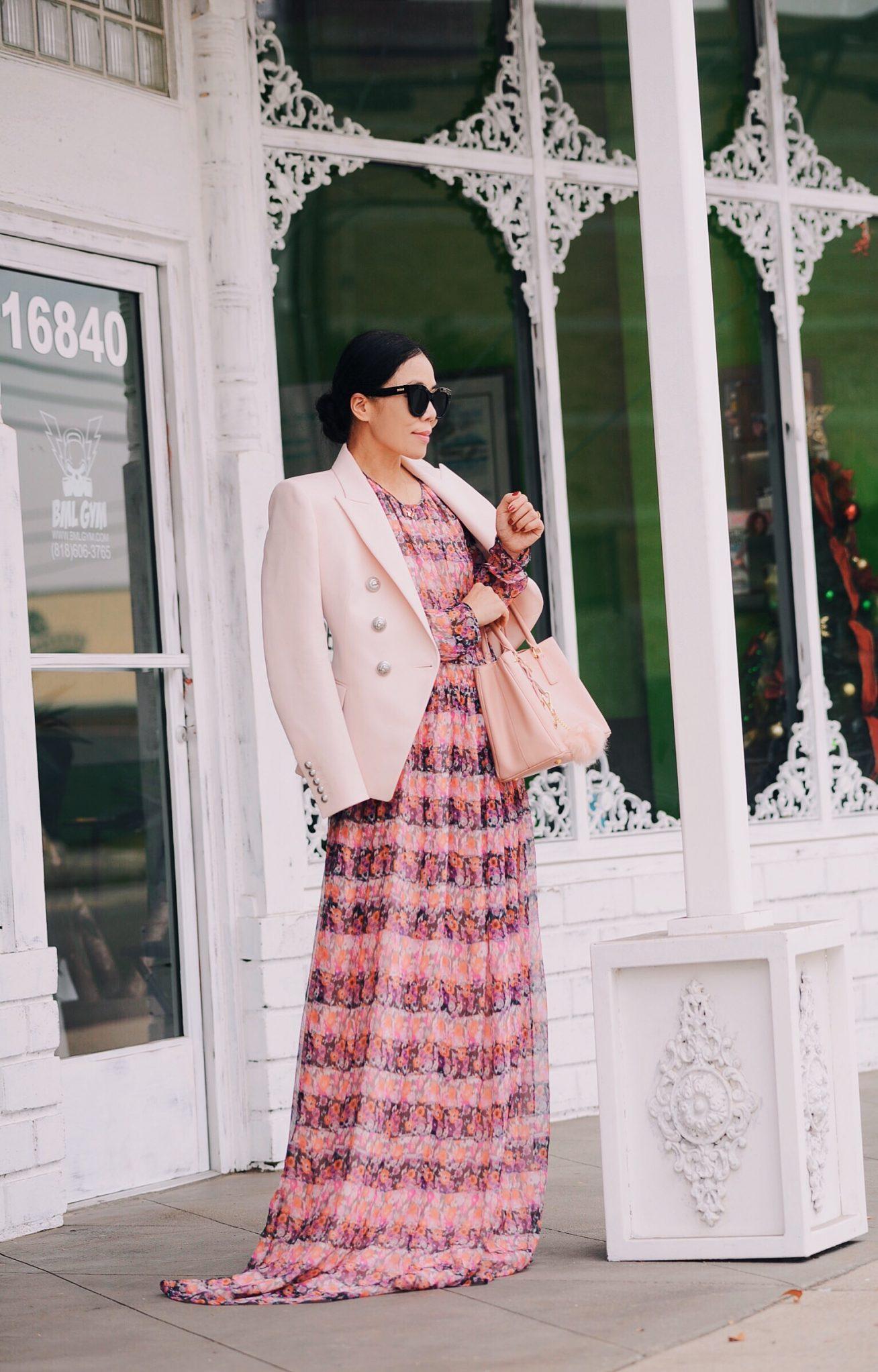 8f91b51064d1 Pink Blazer   Printed Maxi Dress