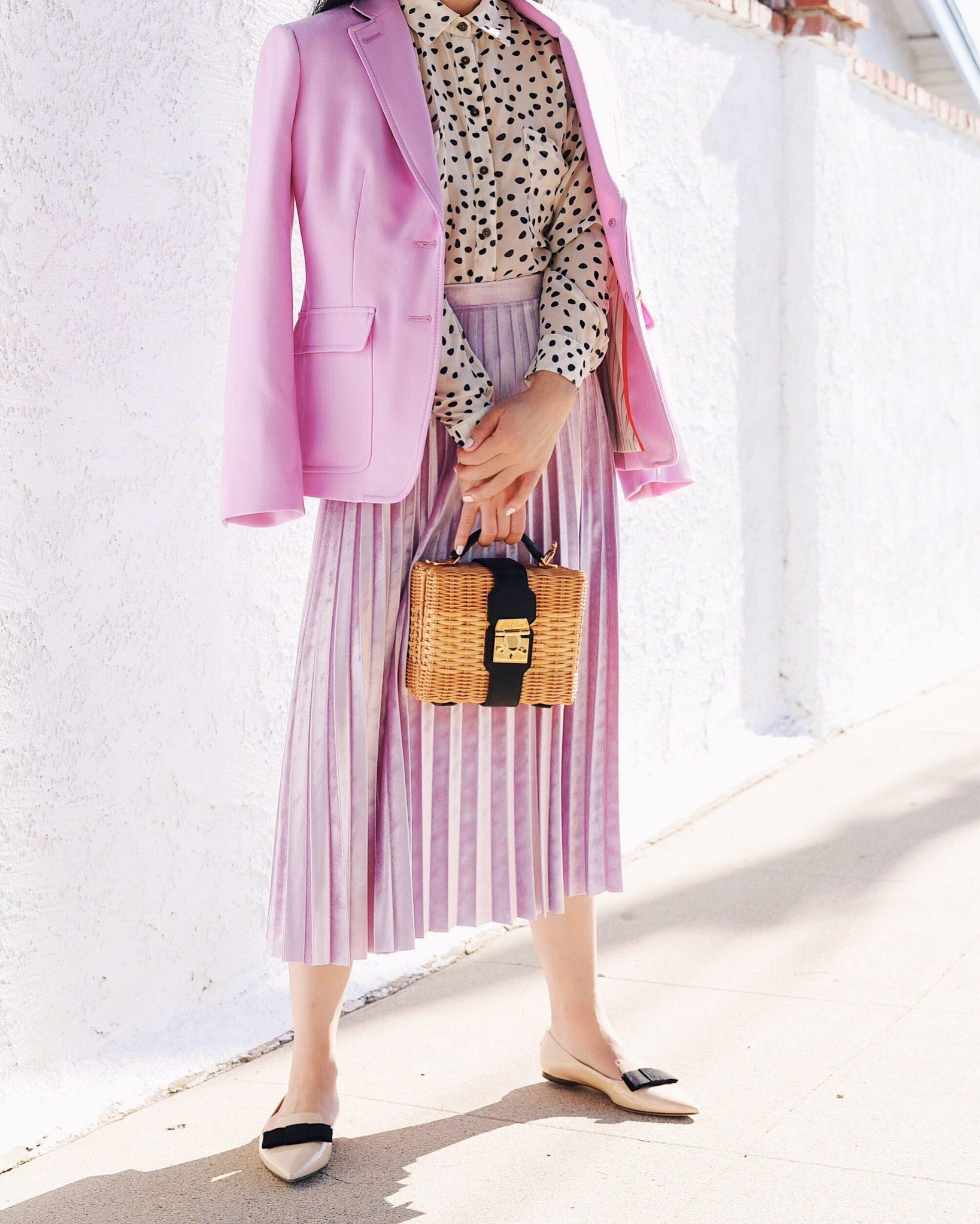 In Pink Pink Blazer Amp Pink Velvet Pleated Skirt Hallie