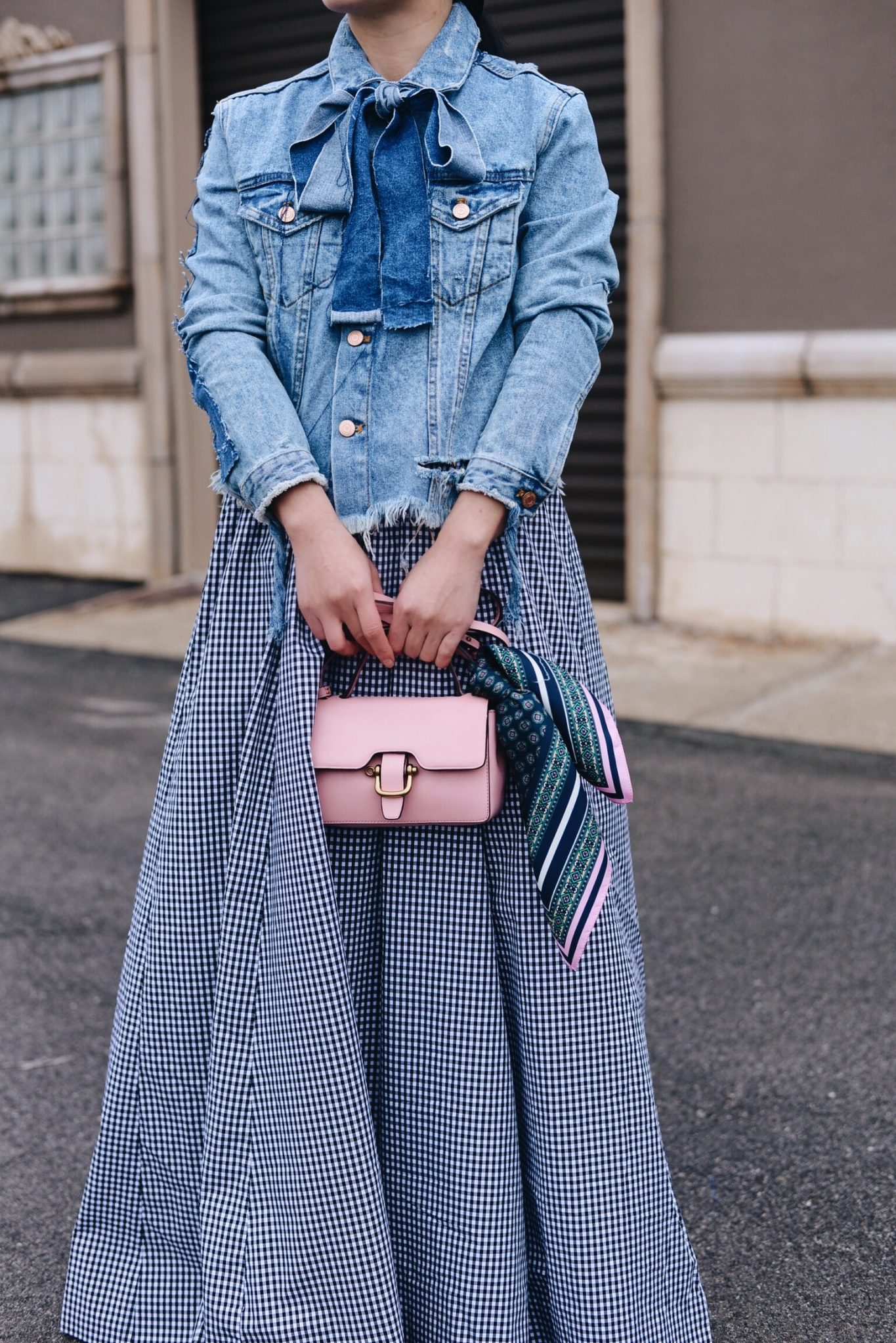 7e0abf0b9 HallieDaily, Style, Street Style, Outfit, Spring Style, Zara, Denim Jacket  with Bow, J.Crew Maxi Ball Skirt, Gingham, J.Crew Mini Pink Bag, ...