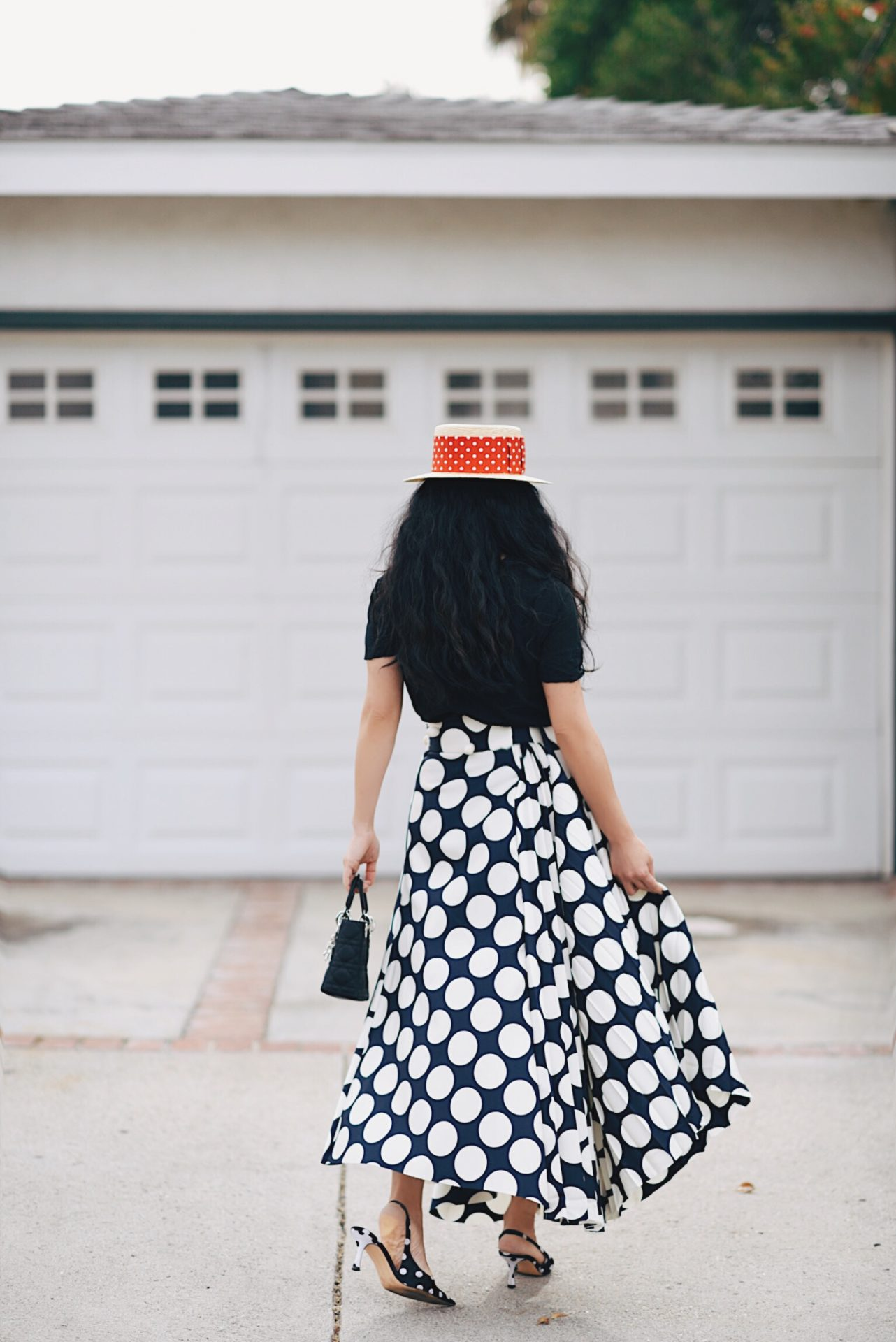 1df4b2e38fd69 Miu Miu Boater Hat   Polka Dot Midi Skirt – Hallie Daily