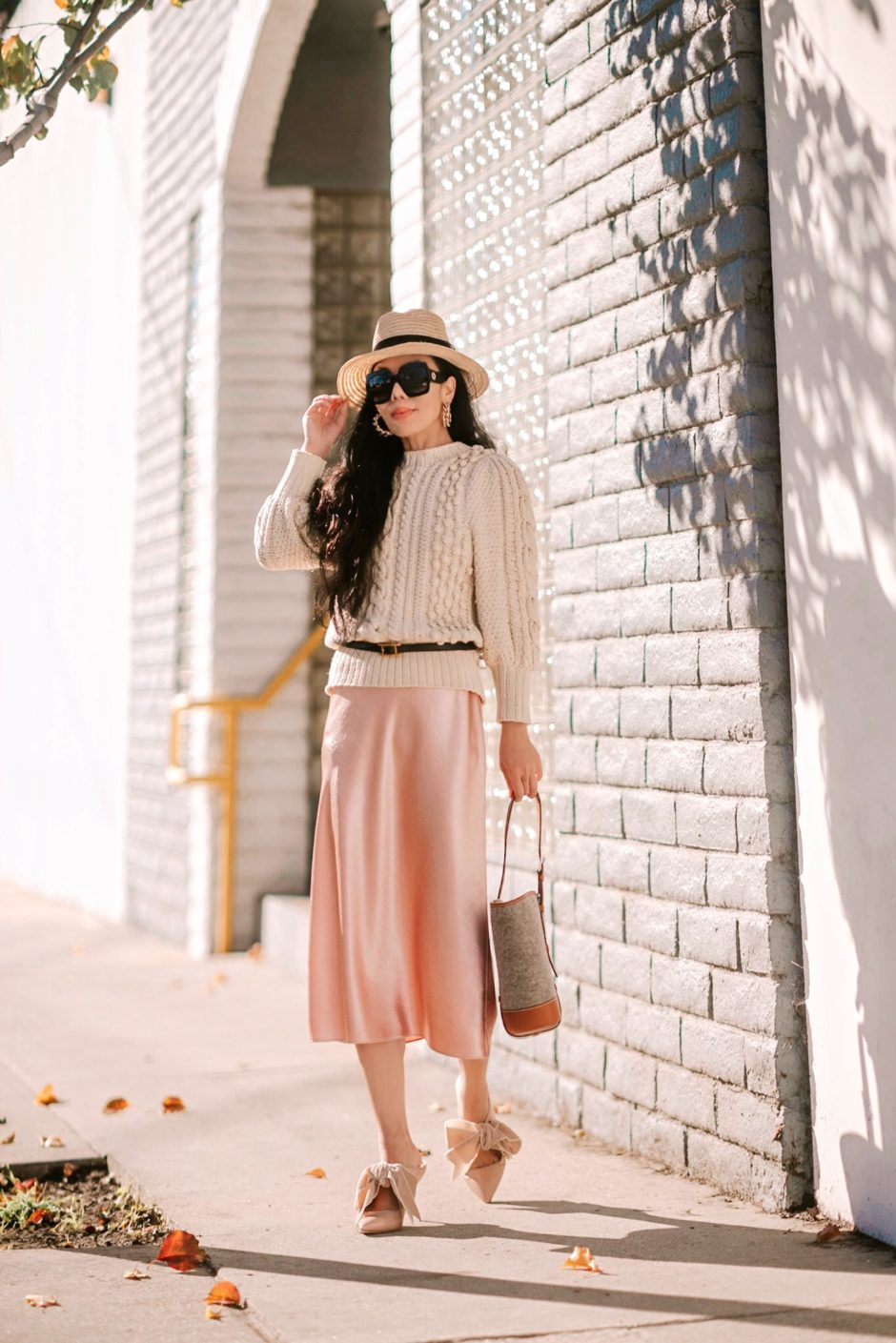 2019 Spring Trend Chunky Sweater Satin Skirt Hallie Daily
